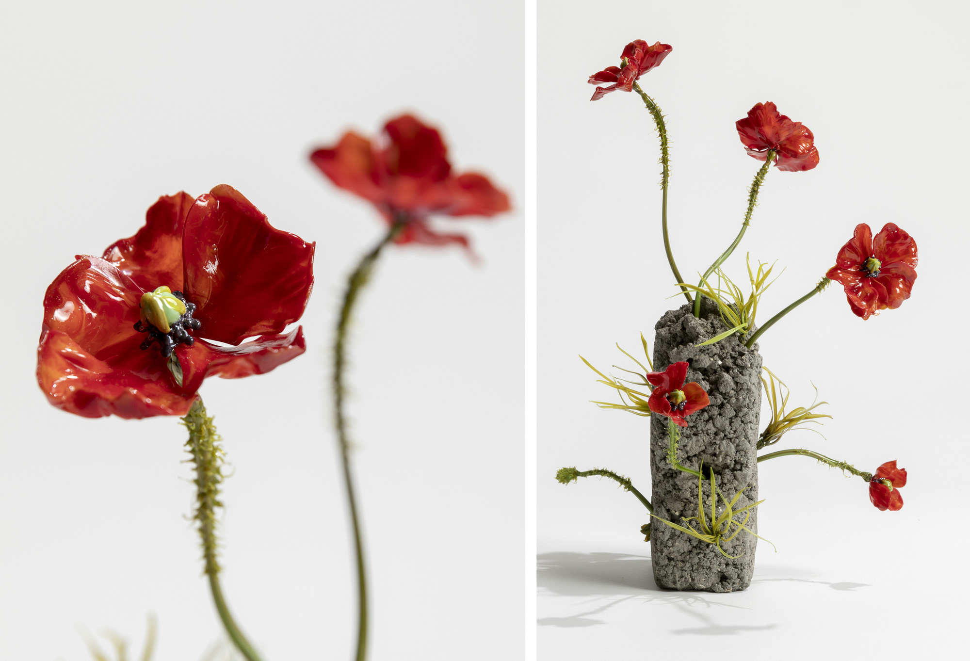 Fresh and Wilting Glass Flowers by Lilla Tabasso