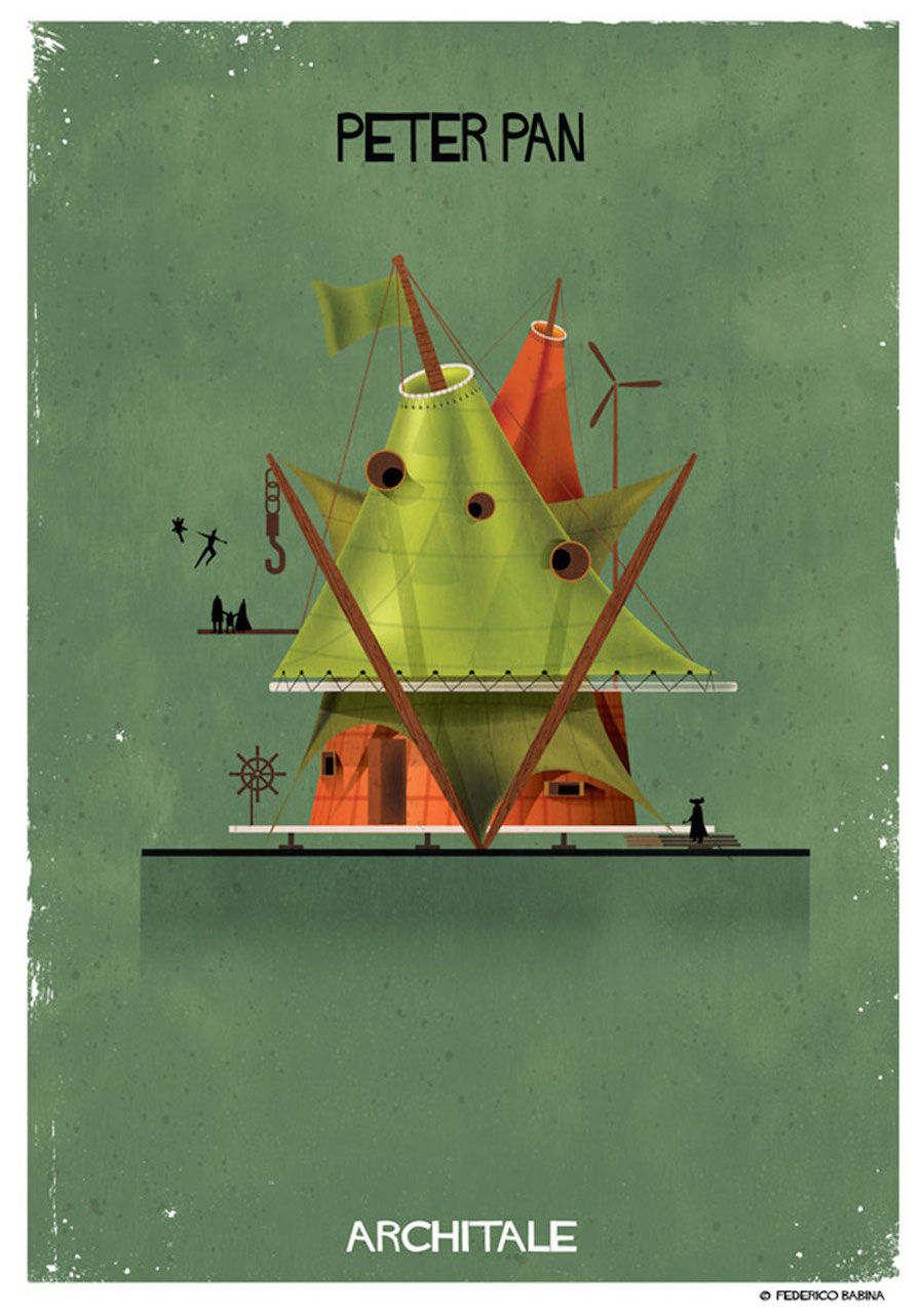 House of Famous Fairytales Characters Illustrations by Federico Babina