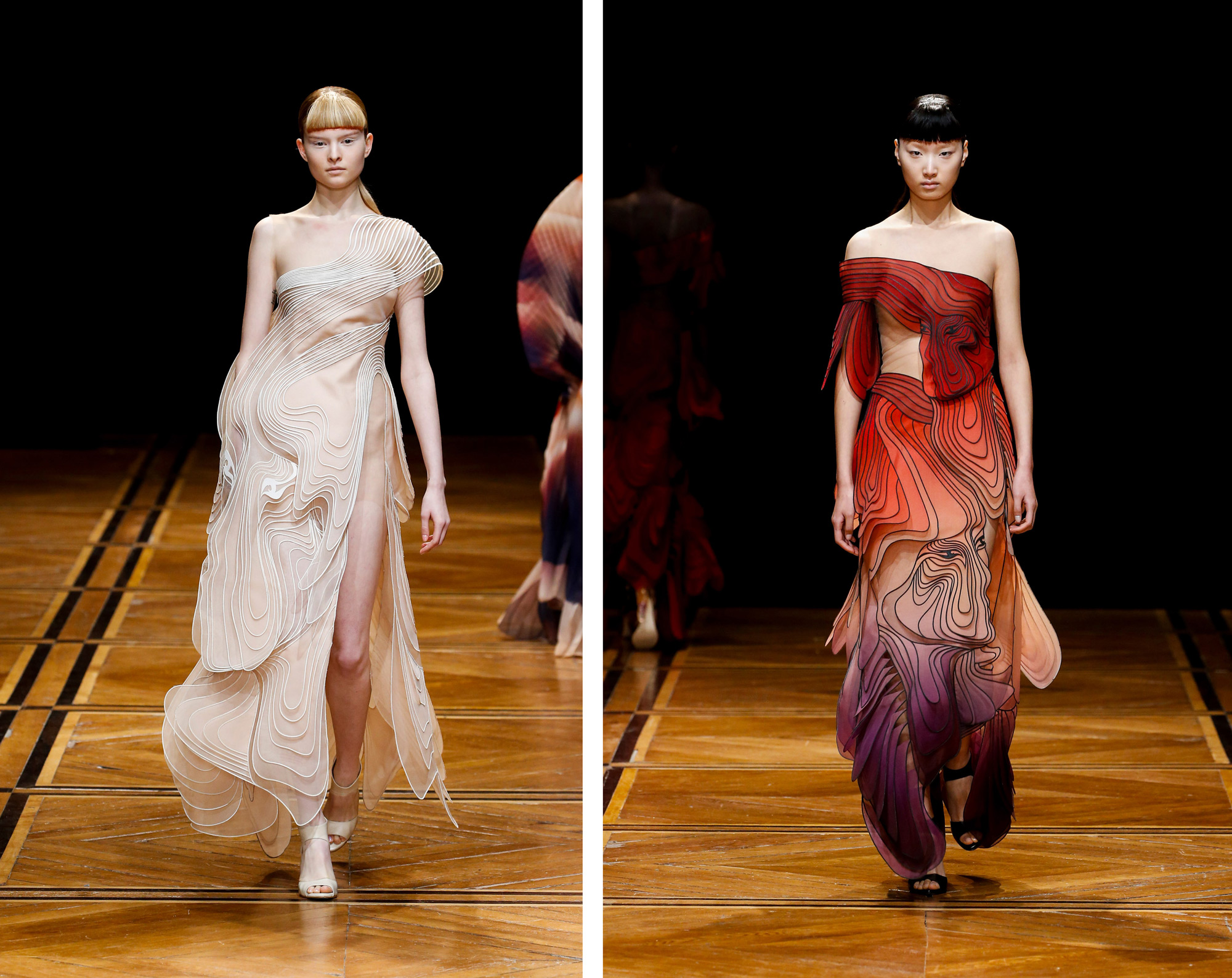 Birds and Faces Emerge From Dizzying Multi-Layered Gowns