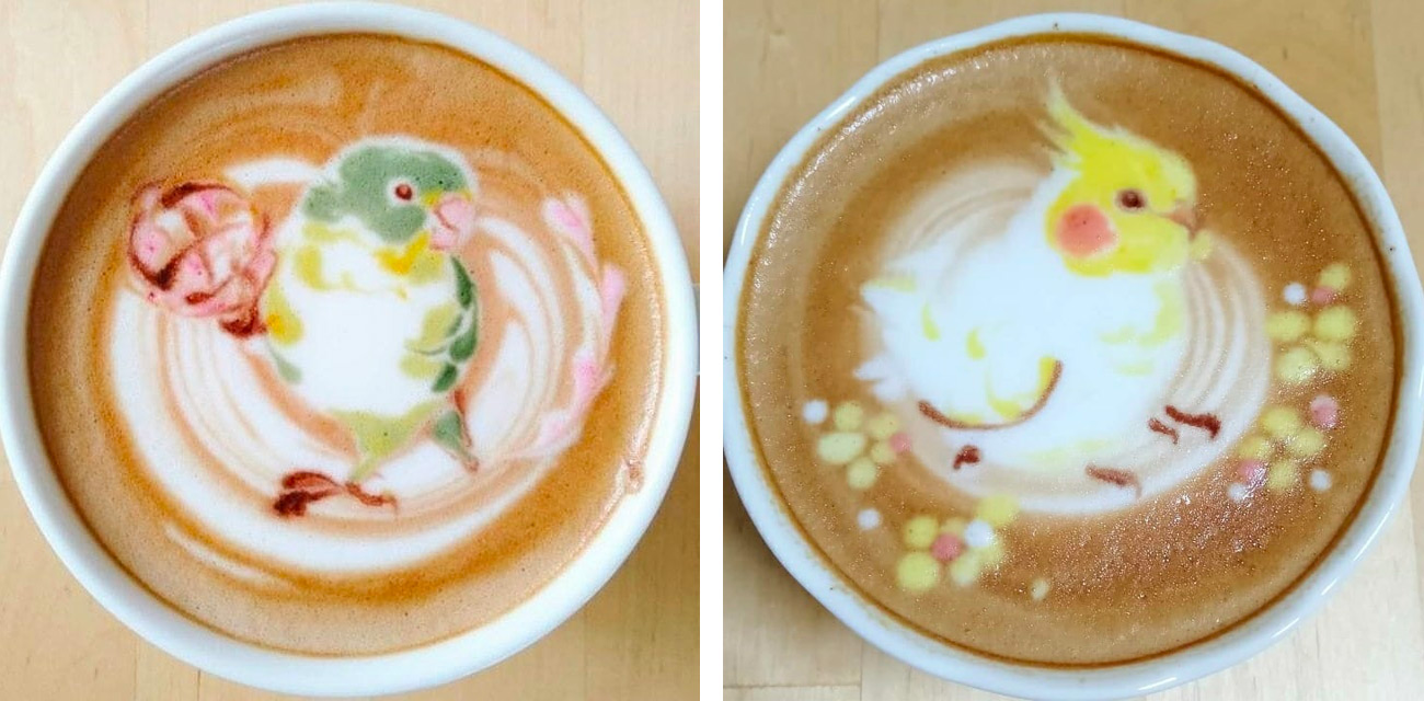 Feathered Latte Art Features Stylized Portraits of Sparrows, Parakeets, and Cockatiels