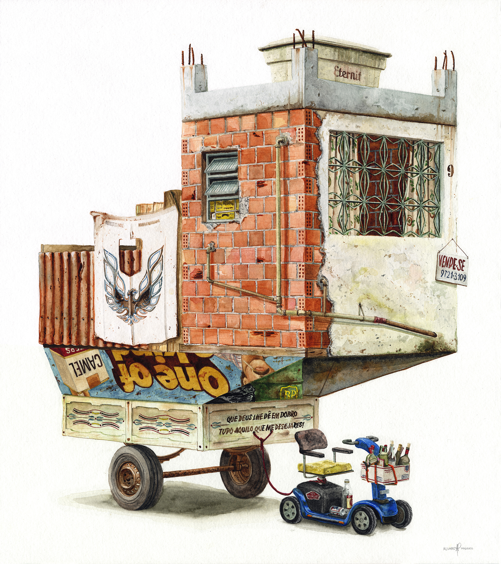 Watercolor Paintings of Imagined Trash Structures Packed With Advertising
