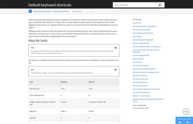 InDesign keyboard shortcuts