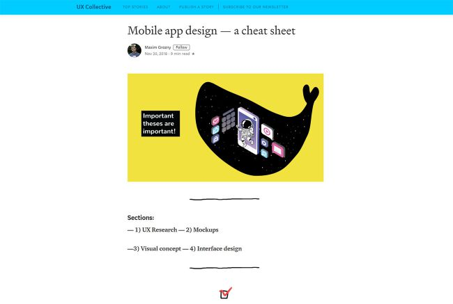 Mobile app design – a cheat sheet