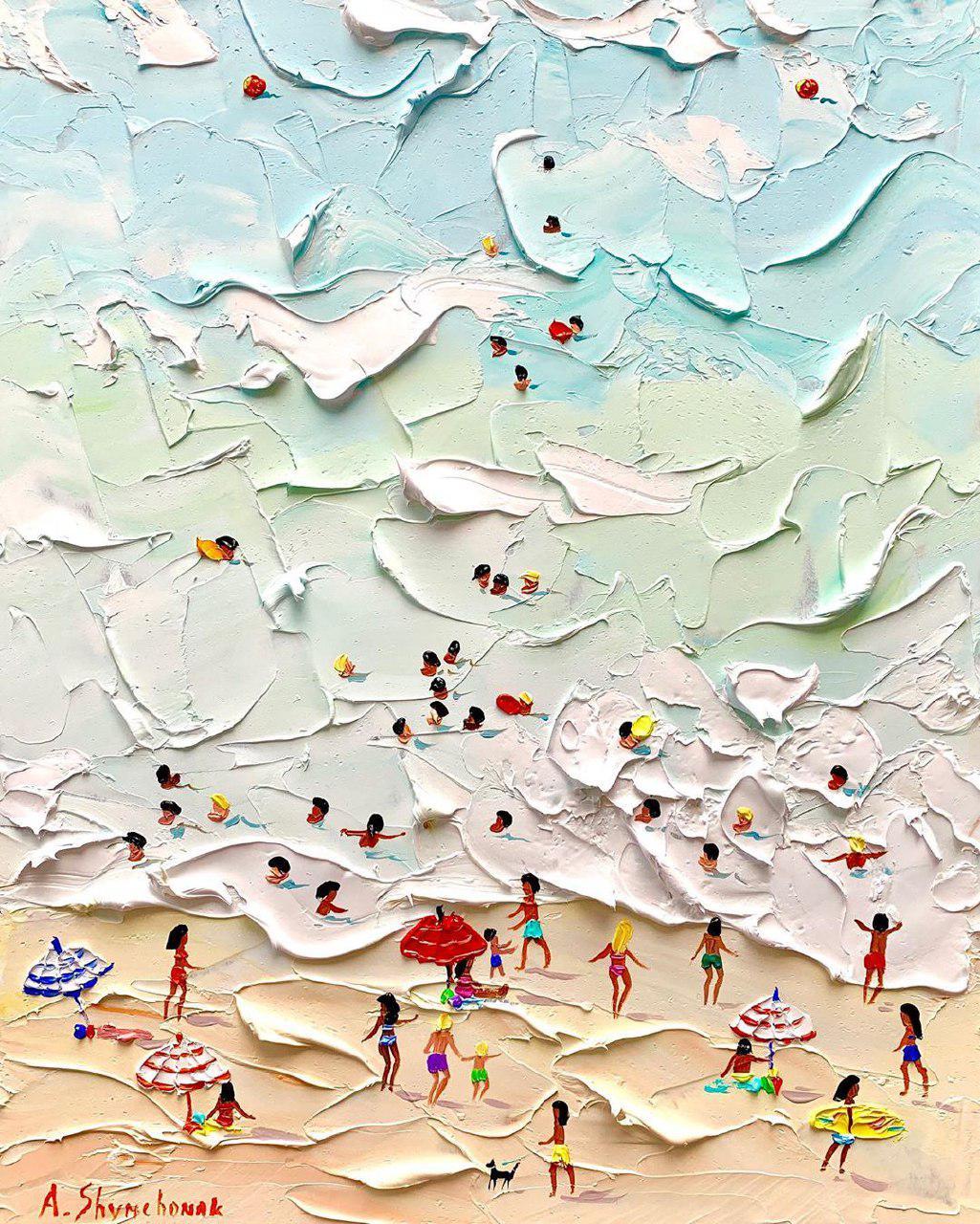 Summer Beach Knife Oil Paintings