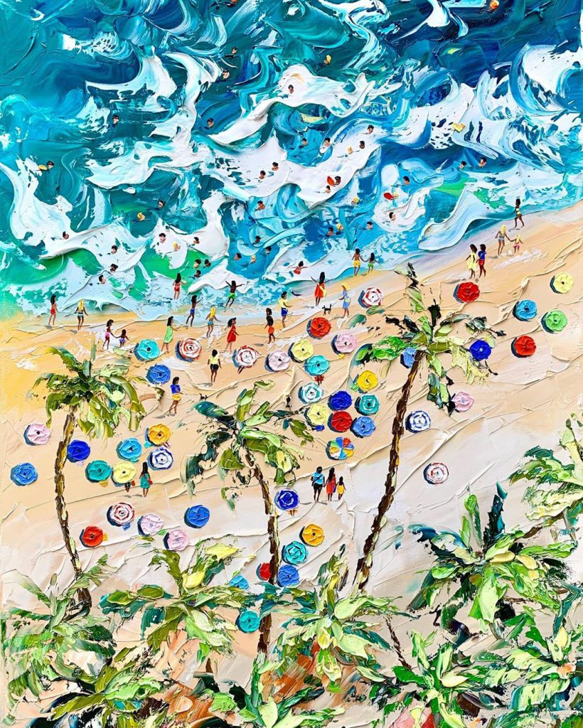 Summer Beach Knife Oil Paintings