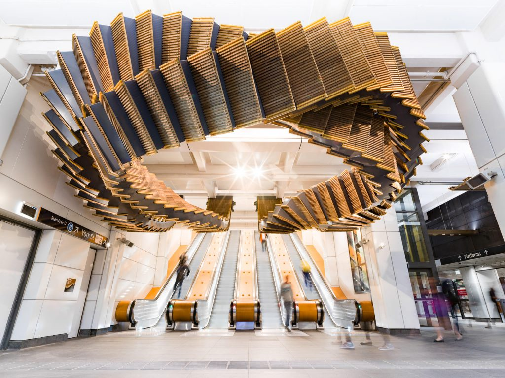 Sculptural Installation Made from Historic Wood Escalators in Sydney By Chris Fox