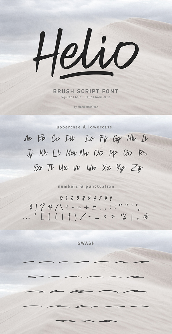 Helio Handwritten Brush Free Font Font