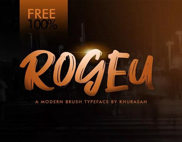 Rogeu Free Brush Font Font