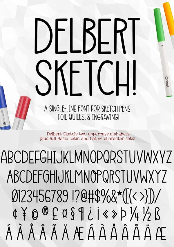 Delbert Sketch Free Font Font