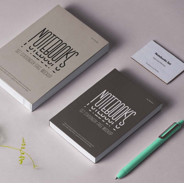 Free Notebook Mockup with Pen and Business Card