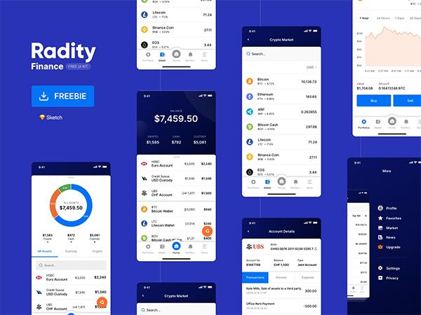 Radity Finance UI Kit – Free PSD