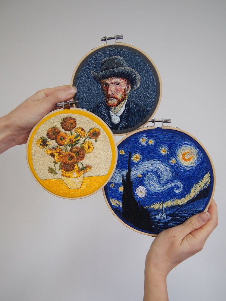 Classic Paintings on Little Embroideries By Ira Kutsyna
