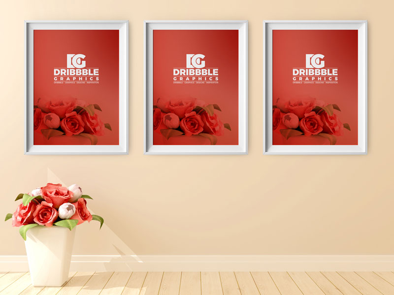 Free Poster Frame Mockup with Beautiful Flowers on Background