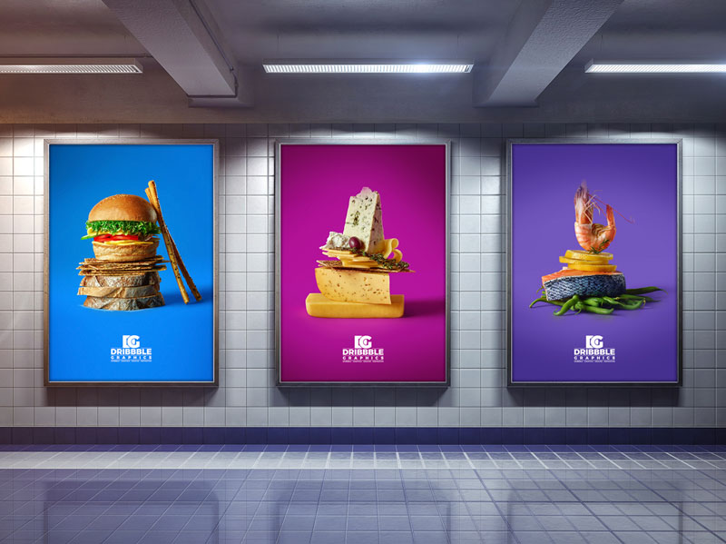 Free Indoor Advertising Poster Billboard Mock-up
