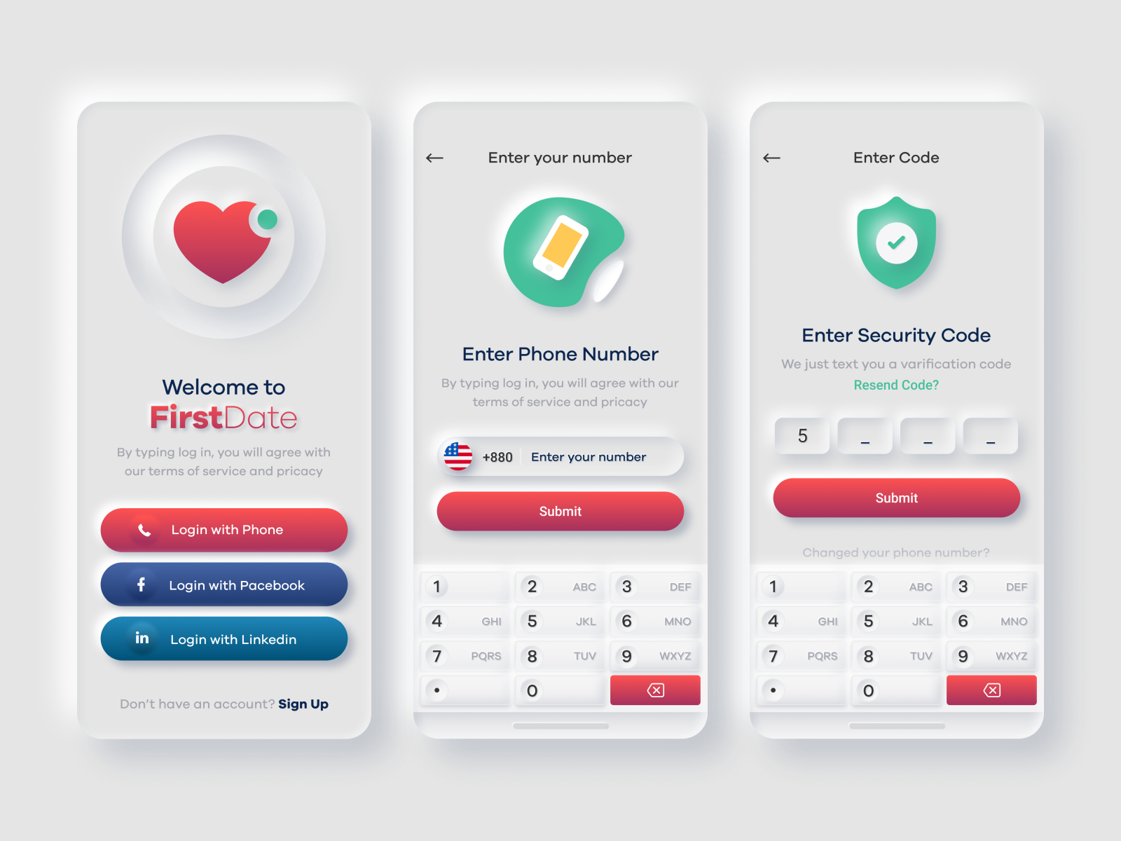 Dating App neumorphic UI Design