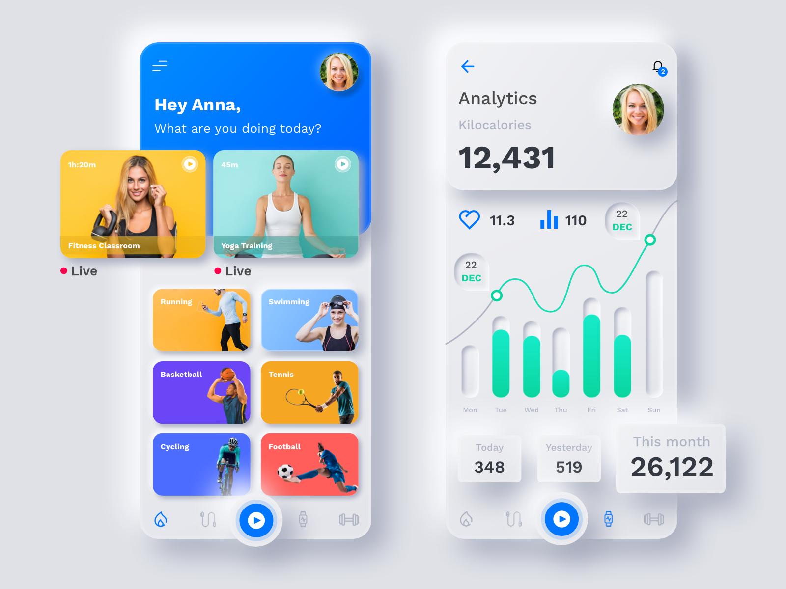 Neumorphism Fitness Mobile App