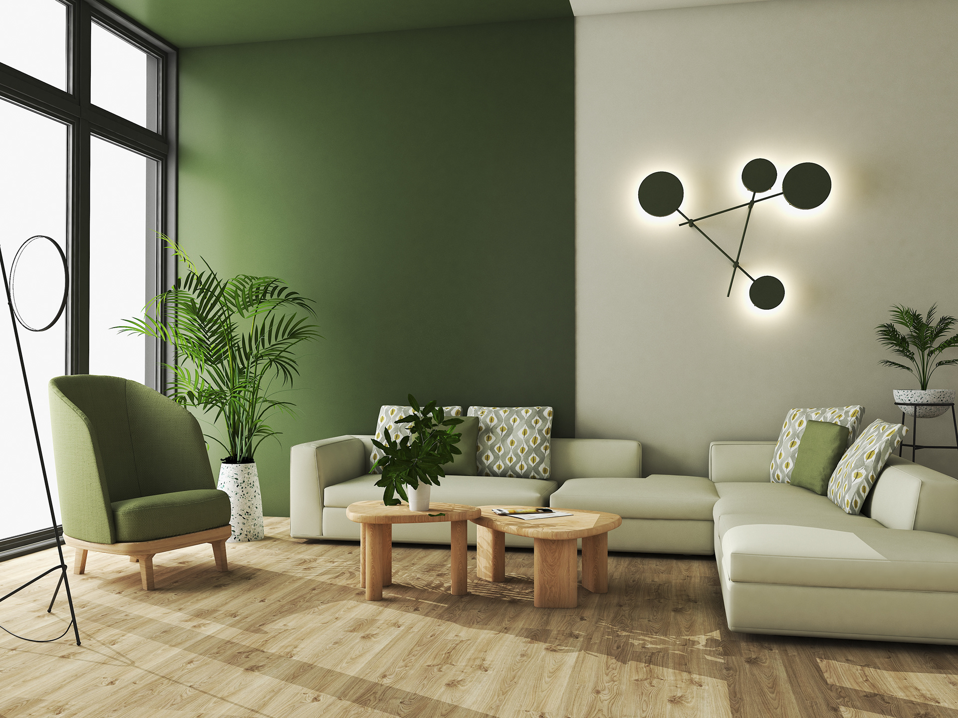 Deep green living room