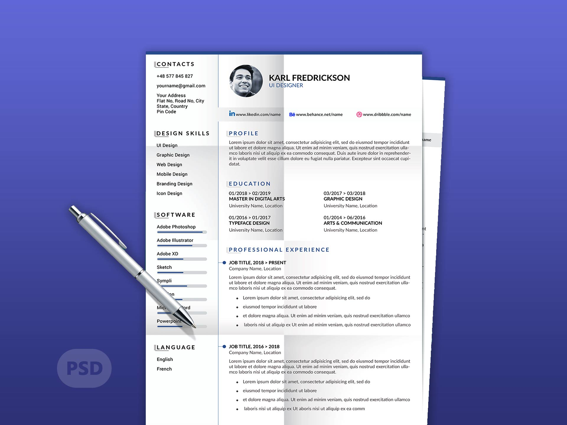 Modern Resume Template With Cover Letter