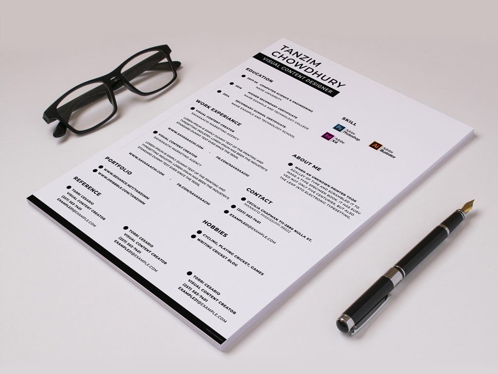 Free Trendy Resume Template in PSD