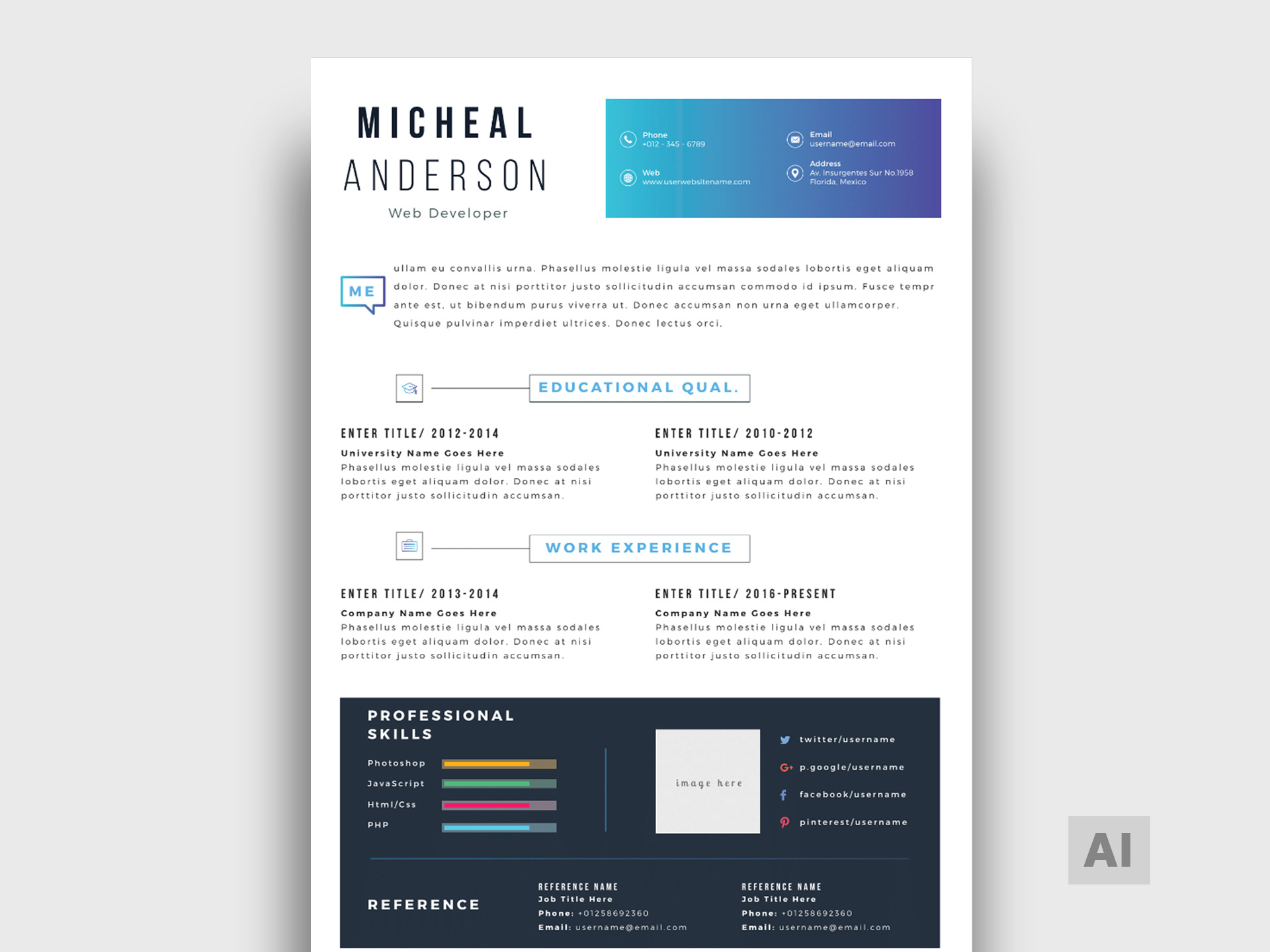 Simple Illustrator Resume Template Free