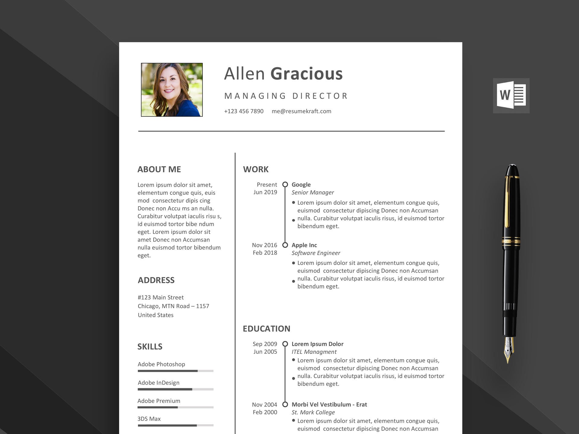 Ace Word Resume Template Free Download