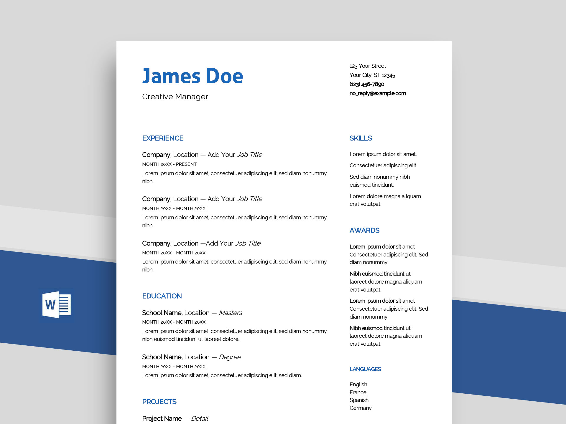 Echo – Free Professional Word Resume Template