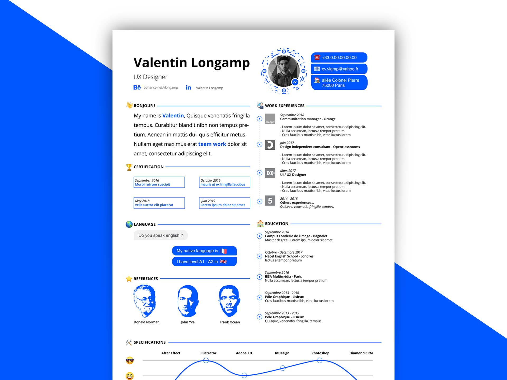In Design Resume Template With Messenger Pattern