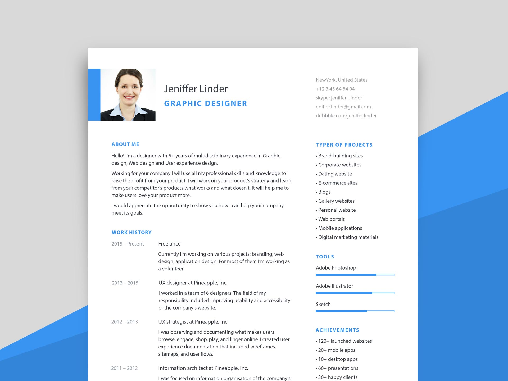 Simple Modern Resume Template with Cover Letter