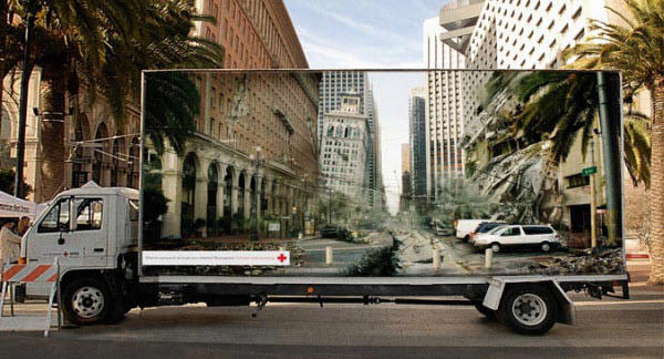 Red Cross: Optical Illusion Billboard