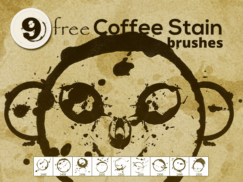 9 Free Coffee Stain Photoshop brushes