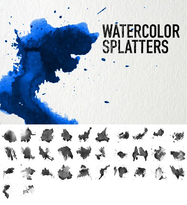 32Watercolor Splatters